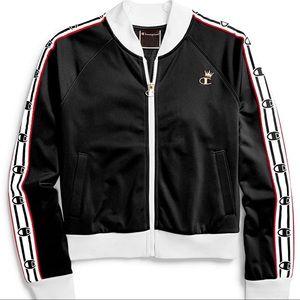 NWT Champion Black Red Spark Crown Track Jacket